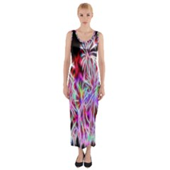Fractal Fireworks Display Pattern Fitted Maxi Dress