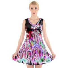 Fractal Fireworks Display Pattern V Neck Sleeveless Skater Dress