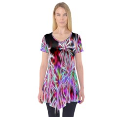 Fractal Fireworks Display Pattern Short Sleeve Tunic