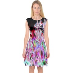 Fractal Fireworks Display Pattern Capsleeve Midi Dress