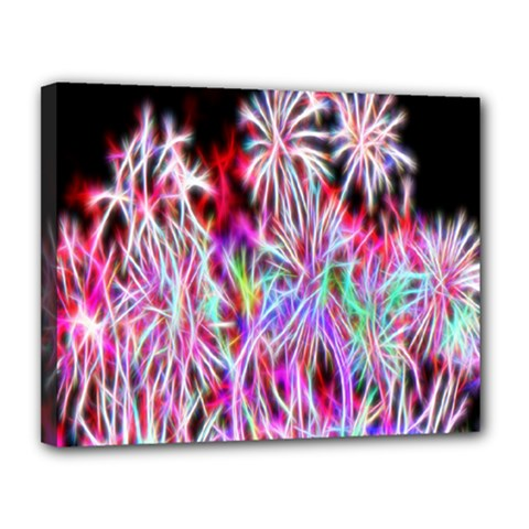 Fractal Fireworks Display Pattern Canvas 14  X 11