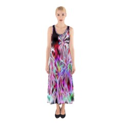 Fractal Fireworks Display Pattern Sleeveless Maxi Dress