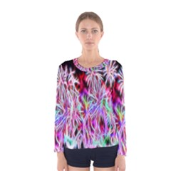 Fractal Fireworks Display Pattern Women s Long Sleeve Tee