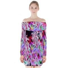Fractal Fireworks Display Pattern Long Sleeve Off Shoulder Dress