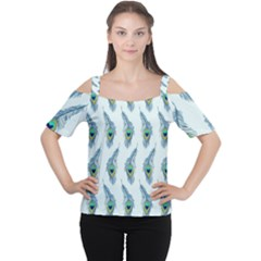 Background Of Beautiful Peacock Feathers Women s Cutout Shoulder Tee