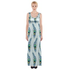 Background Of Beautiful Peacock Feathers Maxi Thigh Split Dress