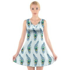Background Of Beautiful Peacock Feathers V Neck Sleeveless Skater Dress