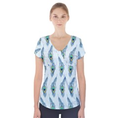 Background Of Beautiful Peacock Feathers Short Sleeve Front Detail Top