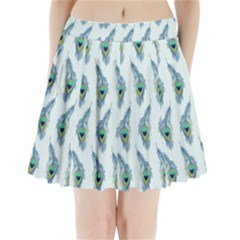Background Of Beautiful Peacock Feathers Pleated Mini Skirt