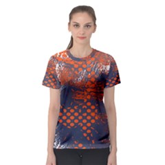 Dark Blue Red And White Messy Background Women s Sport Mesh Tee