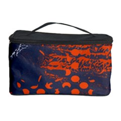 Dark Blue Red And White Messy Background Cosmetic Storage Case