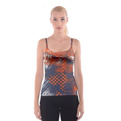 Dark Blue Red And White Messy Background Spaghetti Strap Top