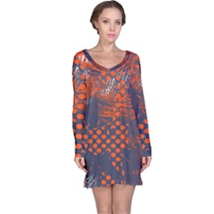 Dark Blue Red And White Messy Background Long Sleeve Nightdress