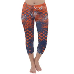Dark Blue Red And White Messy Background Capri Winter Leggings