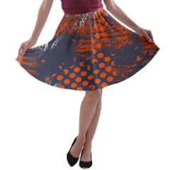 Dark Blue Red And White Messy Background A Line Skater Skirt