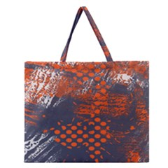 Dark Blue Red And White Messy Background Zipper Large Tote Bag