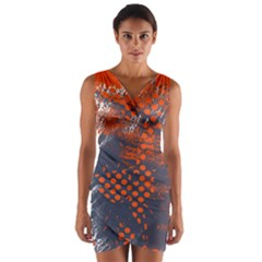 Dark Blue Red And White Messy Background Wrap Front Bodycon Dress