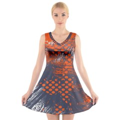 Dark Blue Red And White Messy Background V Neck Sleeveless Skater Dress