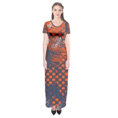 Dark Blue Red And White Messy Background Short Sleeve Maxi Dress