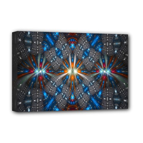 Fancy Fractal Pattern Background Accented With Pretty Colors Deluxe Canvas 18  X 12