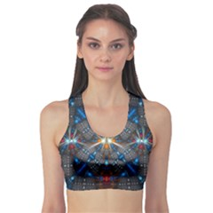Fancy Fractal Pattern Background Accented With Pretty Colors Sports Bra