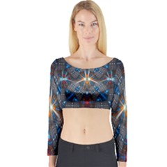 Fancy Fractal Pattern Background Accented With Pretty Colors Long Sleeve Crop Top