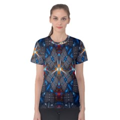 Fancy Fractal Pattern Background Accented With Pretty Colors Women s Cotton Teecotton Tee