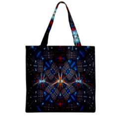 Fancy Fractal Pattern Background Accented With Pretty Colors Grocery Tote Bag