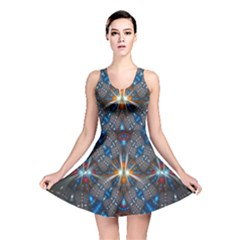 Fancy Fractal Pattern Background Accented With Pretty Colors Reversible Skater Dress