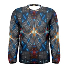 Fancy Fractal Pattern Background Accented With Pretty Colors Men s Long Sleeve Tee