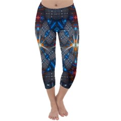 Fancy Fractal Pattern Background Accented With Pretty Colors Capri Winter Leggings