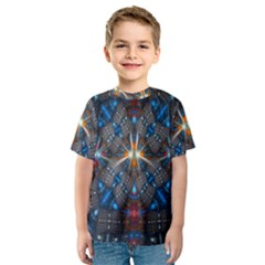 Fancy Fractal Pattern Background Accented With Pretty Colors Kids  Sport Mesh Tee