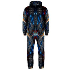 Fancy Fractal Pattern Background Accented With Pretty Colors Hooded Jumpsuit (men)