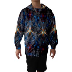 Fancy Fractal Pattern Background Accented With Pretty Colors Hooded Wind Breaker (kids)