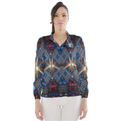 Fancy Fractal Pattern Background Accented With Pretty Colors Wind Breaker (women)