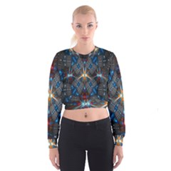 Fancy Fractal Pattern Background Accented With Pretty Colors Cropped Sweatshirt