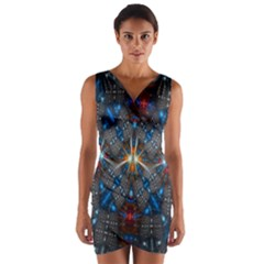 Fancy Fractal Pattern Background Accented With Pretty Colors Wrap Front Bodycon Dress