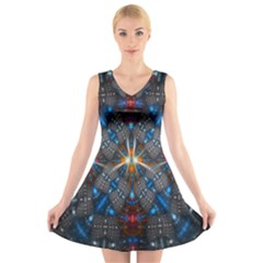 Fancy Fractal Pattern Background Accented With Pretty Colors V Neck Sleeveless Skater Dress