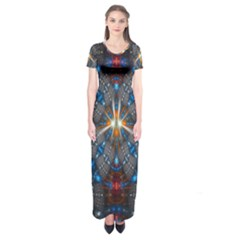 Fancy Fractal Pattern Background Accented With Pretty Colors Short Sleeve Maxi Dress