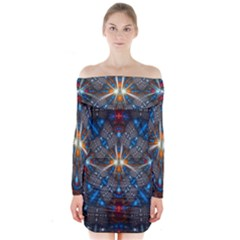 Fancy Fractal Pattern Background Accented With Pretty Colors Long Sleeve Off Shoulder Dress