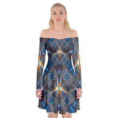 Fancy Fractal Pattern Background Accented With Pretty Colors Off Shoulder Skater Dress