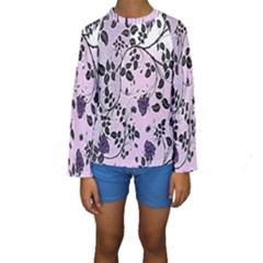 Floral Pattern Background Kids  Long Sleeve Swimwear