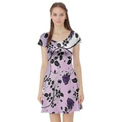 Floral Pattern Background Short Sleeve Skater Dress