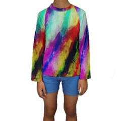 Colorful Abstract Paint Splats Background Kids  Long Sleeve Swimwear