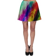 Colorful Abstract Paint Splats Background Skater Skirt