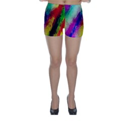 Colorful Abstract Paint Splats Background Skinny Shorts