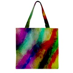 Colorful Abstract Paint Splats Background Zipper Grocery Tote Bag