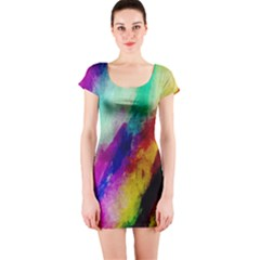 Colorful Abstract Paint Splats Background Short Sleeve Bodycon Dress