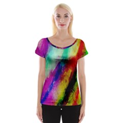 Colorful Abstract Paint Splats Background Cap Sleeve Tops