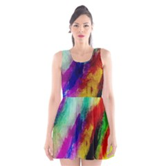 Colorful Abstract Paint Splats Background Scoop Neck Skater Dress